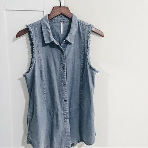 Free People ✨ Frayed Hem Button Down Shirt